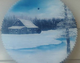 A Winter Scene, Painted Saw Blade
