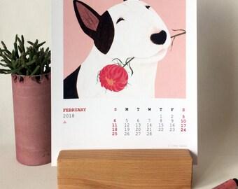 2018 Bull Terrier Calendar - Dog Desk Calendar - Bullterrier Art Calendar - 12 Months Illustrated Bull Terrier wooden stand  Calendar