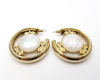 Vintage Large Detailed Half Hoop Pierced Earrings Gold Tone Metal Round Simple Hoops Mod Retro Classic Feminine Statement Grunge Indie
