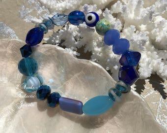 Bohemian Evil Eye Bracelet, Blue Beaded Bracelet, Blue Crystal Bracelet, Hippie Gypsy Jewelry, Beach Bracelet, Ladies Jewelry, Gemstones