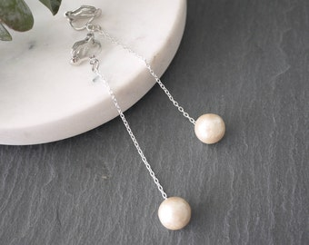 10mm cotton pearl, cotton pearl earrings, pearl earrings, chain earrings, silver earrings,