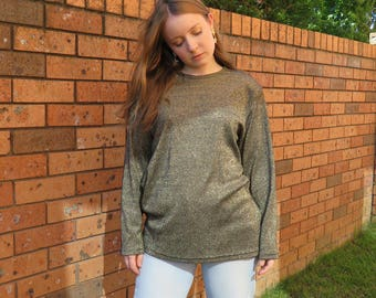 80s Gold Lurex Oversized Slouch Top / Long Sleeve Jumper / Shoulder Pads Metallic Slouchy Pullover