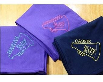 Cheer Monogram Blanket, megaphone blanket, cheerleading, personalized blanket, monogrammed blanket, sweatshirt blanket, personalized throw