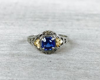 Synthetic blue sapphire in white gold ring