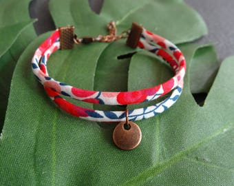 Bracelet Liberty London Wilthsire S spaghetti with pendant, fuchsia, red and blue