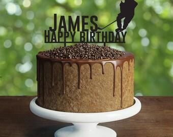Hockey Birthday Cake Topper, Hockey player cake topper, Hockey cake topper, Hockey birthday cake topper, Hockey party cake topper