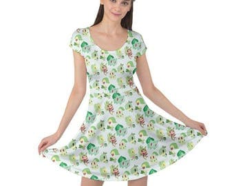 Grass Pokemon Short Sleeve Dress - Bulbasaur Dress Treecko Dress Chespin Dress Chikorita Dress Pokemon Dress Grass Pokemon Plus Size Dress