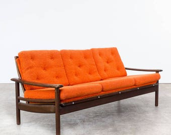 Teak Wooden Scandinavian Bench 1960s   Vintage Bench   Orange Bench   Teak  Wooden Bench