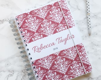 Personalised 2018 A5 Planner/Diary with or without tabbed dividers - Berry Red Damask Victoriana