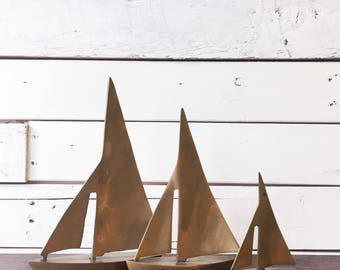 Set of 3 brass sailboats | vintage brass figurines