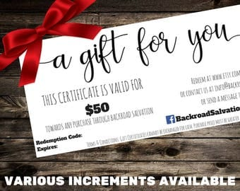 Backroad Salvation Gift Certificate - Personalized Hand Painted Signs - Gift Ideas
