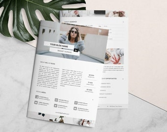Blog Media Kit and Ad Rate Sheet | Template for Microsoft Word and Photoshop, Press Kit Template, Instant Download - A4 & US Letter