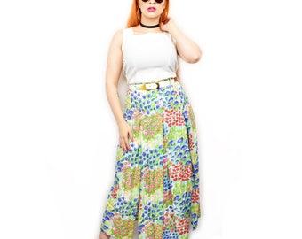 True Vintage 70s High Waist Midi Skirt with Belt Size Small White Multi Colour Watercolour Print