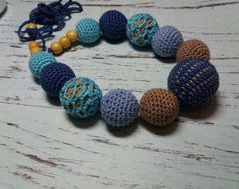 Crochet teething necklace, silicone teething necklace, nursing necklace, breastfeeding necklace, baby nursing necklace