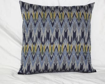Navy Blue and Light Blue Ikat Cotton Pillow Cover