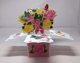 3D Pop Up Exploding Box Flowers & Butterflies Thank You/Thanks Card - luxury personalised quality UK Mum/Daughter/Sister/Niece/Grandma