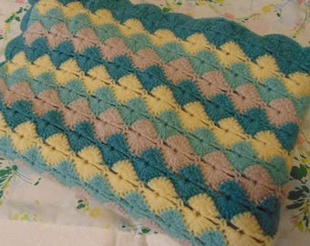 Crocheted Afghan / Throw blanket - Greens and Yellows
