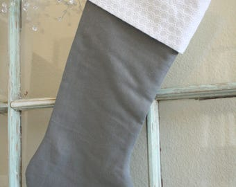 Gray Linen Stocking--Eyelet Cuff #16