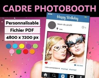 Fichier numérique - Cadre à selfie personnalisable - Photobooth INSTAGRAM // A imprimer