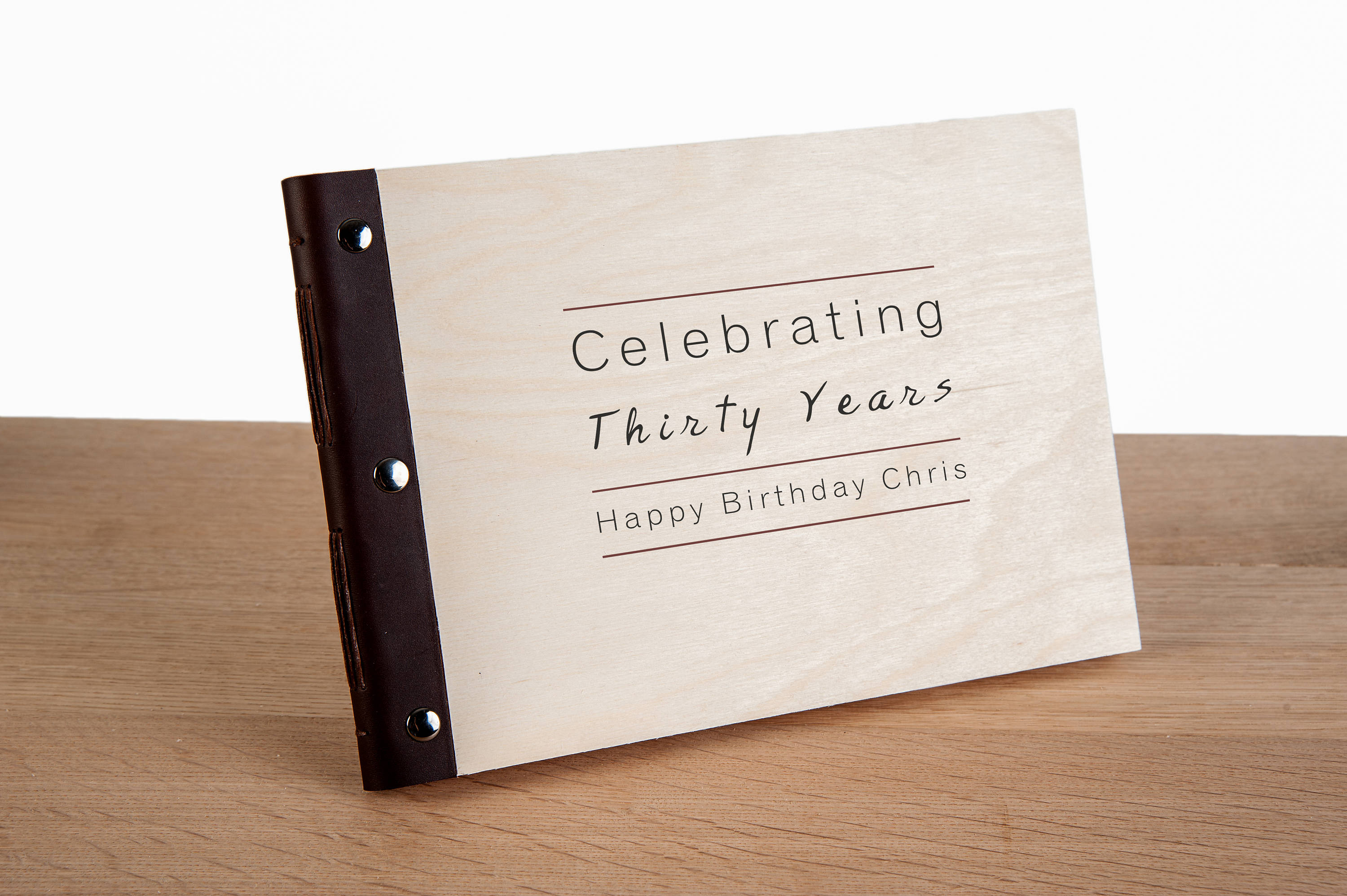 personalised leather bound wood cover photo album journal. Black Bedroom Furniture Sets. Home Design Ideas