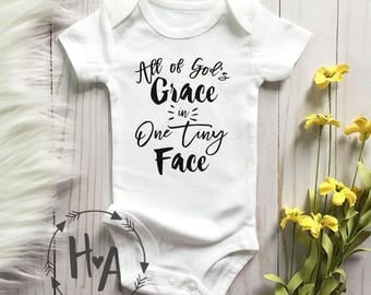 All of God's Grace in One Tiny Face Onesie®/ Bodysuit / Baby Outfit / Religious Quote / Gender Neutral Baby Clothing / Baby Shower Gift