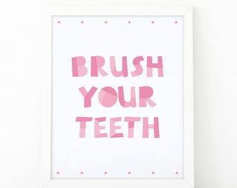 Brush Your Teeth, Art for Kids, Nursery wall art, Digital Download, Toilet Sign, nursery, Bathroom Print, Nursery Print, Educational print