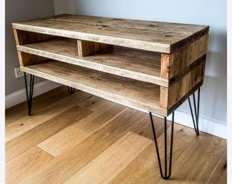 Rustic BOX TV Stand with 2 Prong 40cm Metal Hairpin Legs (3 Shelf)