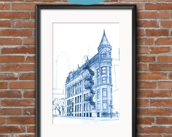 Gooderham Building | Blueprints | Hand-drawn  sketch of an architectural icon