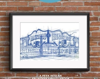 Honest Ed's | Blueprints | Hand-drawn  sketch of an architectural icon