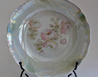Iridescent display dish in pastel colors/Vintage floral bowl/Entryway buffet table/sage green blue rose/marked RCW Baveria/mother gift