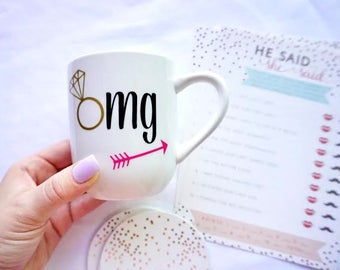 OMG coffee mug, Option to personalize, engagement mug, omg I'm engaged coffee mug, engagement gift, engagement announcement