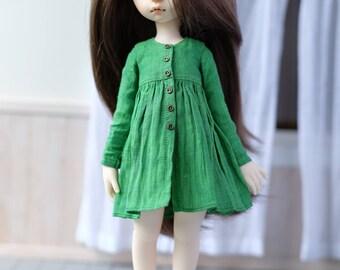 Linen shirt dress for iMda 3.0 doll - green