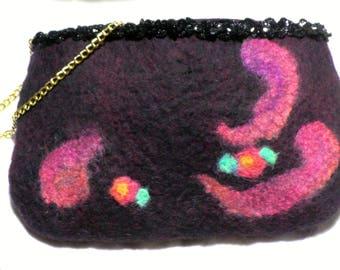 Felted purse in fine Merino Wool