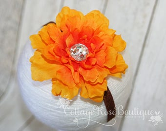 Orange Brown Flower Headband, Fall Headband, Thanksgiving Bows, Headband, Baby Girl Headbands, Flower Headbands, Hairband, Fall Hair Bows