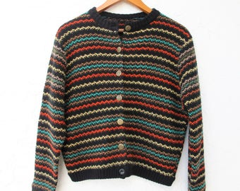 50's Sweater, Striped Vintage Cardigan