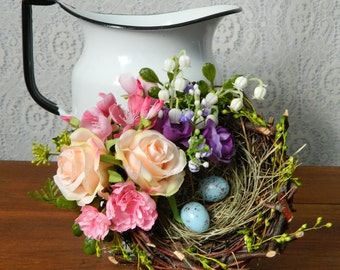 Farmhouse Bird Nest with Eggs Decoration, Rustic Spring Floral, Arrangement, Spring Flowers, Roses, Cherry Blossom, Lily of Valley, Easter