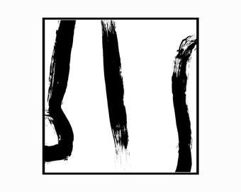 Square Black & White Printable Art Print Brush Lines Abstract Minimal 4x4 5x5 8x8 10x10 11x11 12x12 14x14 16x16 18x18 20x20 Instant Download