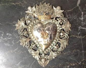 Antique Italian Ex Voto Heart 1910s