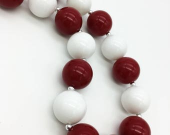 Red and White Chunky Necklace - Red and White Bubblegum Necklace - Valentine Necklace - Photo Prop Jewelry