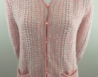 Vintage Jacobson's Pink and White Knit  Cardigan Sweater/ Size Large