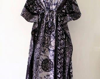 Boho Maternity dress, Nursing gown, front zip open, maternity kaftan , Nursing Dress, breastfeeding gown, baby shower gift (Navy GB)
