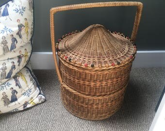 Large 1950s Beaded Rattan/Wicker Sewing/Storage Basket Great Condition