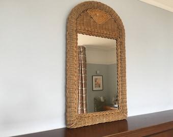 Vintage Rattan/Wicker/Cane Mid Century Mirror Rectangular