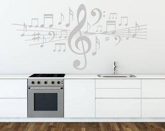 Music Wall Sticker Musical Notes Decal Vinyl Studio Bedroom Dance Art Gift