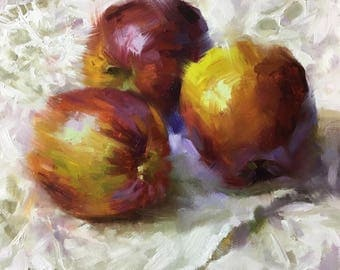 Apples, Original Oil Painting, One of a kind