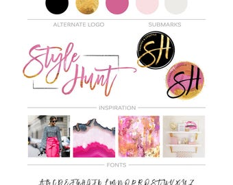 Premade Branding Package, Logo Design, Business Logo, Photography Custom Logo, Gold Watercolor Logo, Feminine Modern Branding Kit, Blog Logo