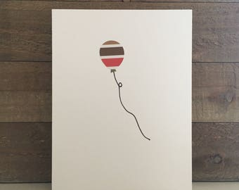 Happy Birthday Card Set / Brown,Red,Green Striped Balloon / Birthday Greeting Card / Birthday Invitations