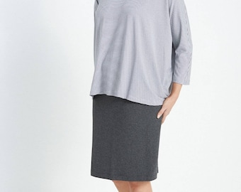 Charcoal Marle Straight Skirt with Elastic Waist