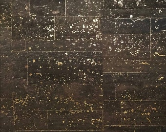 Cork Fabric (US Supplier) - Surface Black w/ Gold - Vegan Eco-Friendly - Leather Alternative - Made in Portugal