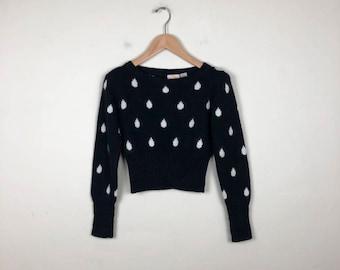 Vintage Polka Dot Sweater Size Small, Angora Sweater, Vintage Liz Claiborne, Black Cropped Sweater